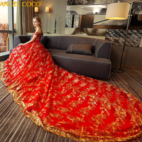 Off Shoulder Court Red Trailing Wedding Dress Female New 2019 Bride Dress Golden Sequins Lace Maternity Dress Pregnancy Clothes