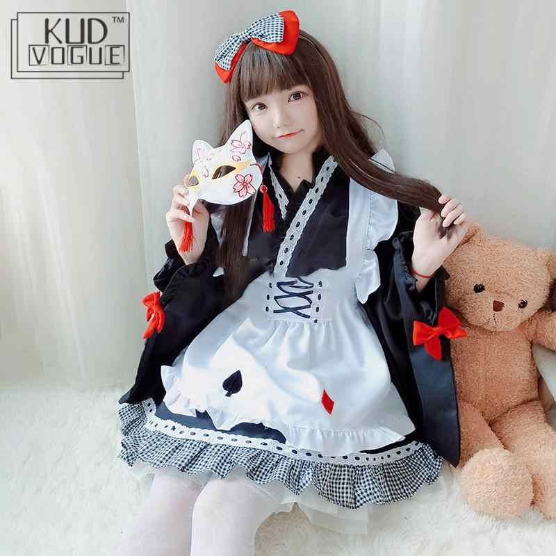 Kimono Jepang Lolita Gaun untuk Gadis Kawaii Anime Pembantu Gaun Pesta Manis Lucu Pakaian Wanita Penyihir Seragam Sesuai dengan Kostum Cosplay