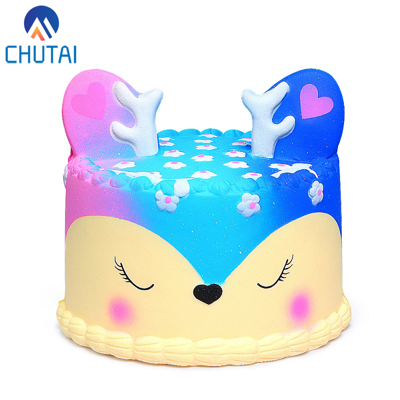Jumbo Kawaii Cake Squishy Galaxy Deer Squishies Cream Scented Slow Rising Kid Toy Phone Strap Squeeze Toys For Kids Gift