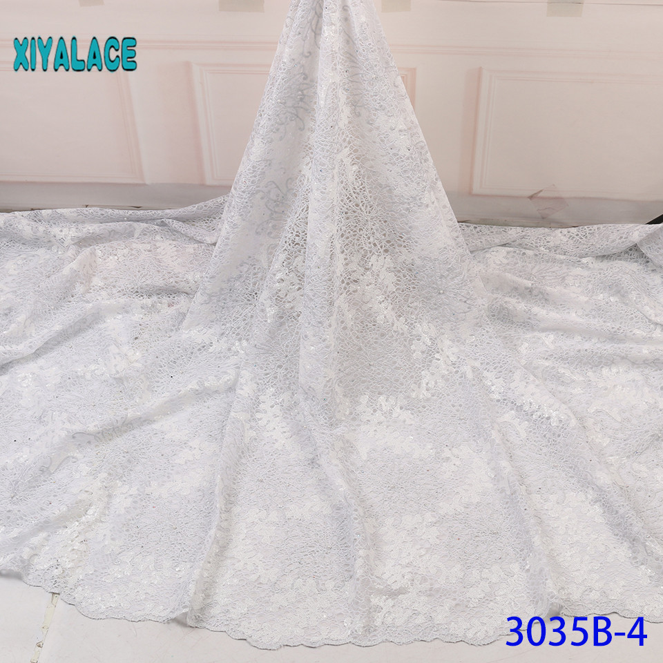 Latest Pure White African Net Lace Fabric For Wedding Dress Nigerian Lace Swiss Voile Lace In Switzerland With Sequins YA3035B-4