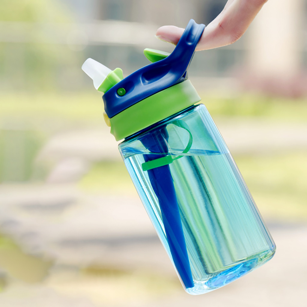 Student Portable Plastic Cup School Drinking Water Straw Bottle Straw Suction Pipe Hand Movement Water Cup 480ml|Water Bottles| |  - AliExpress