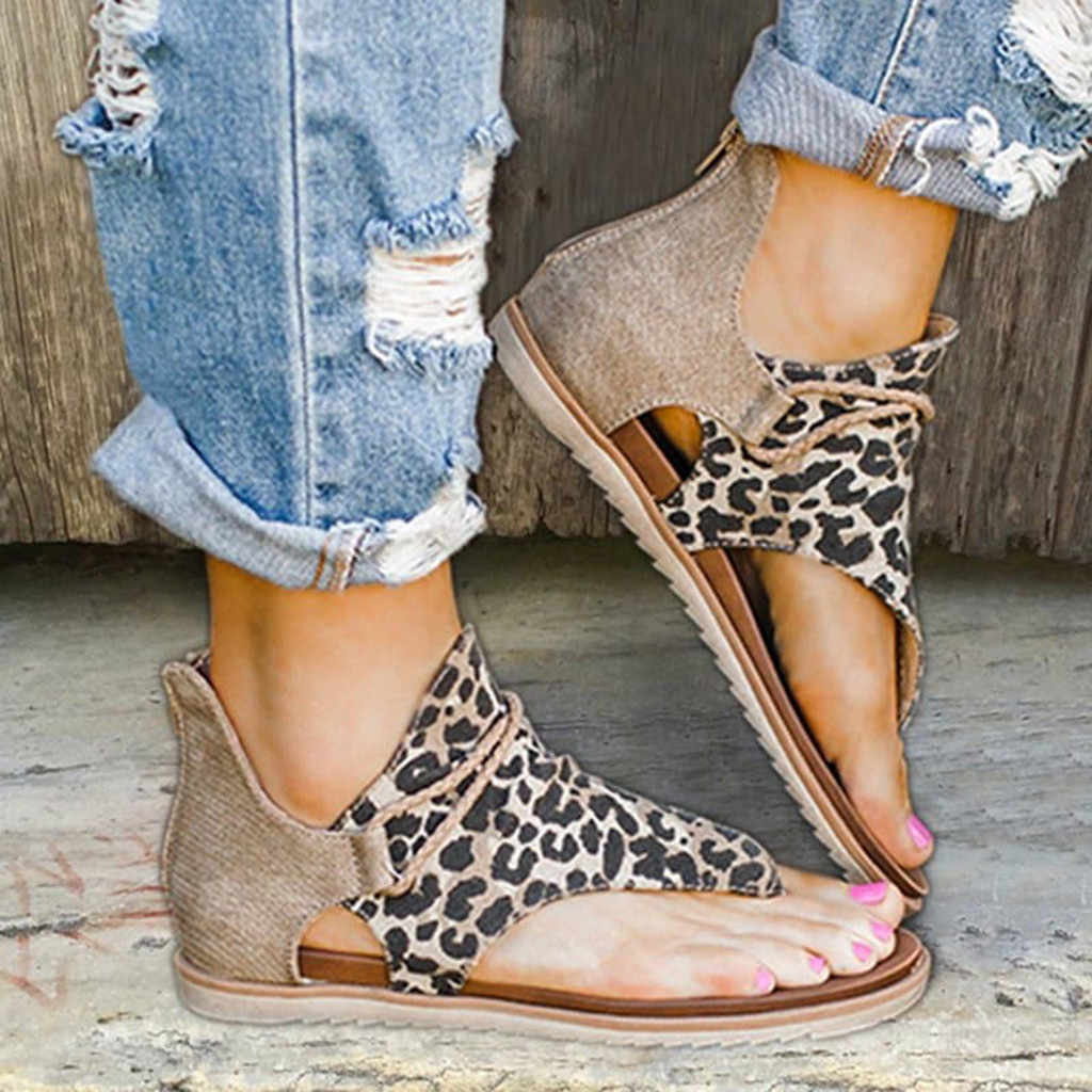 Vintage Women Sandals Leopard Print Summer Shoes Women Large Size Andals Flat Sandals Womens Bohemian Shoes Sandalias Zapatos