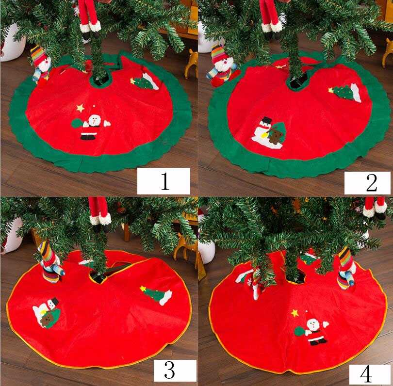 Xmas Decoration Aprons 90cm Red/Green Christmas Tree Skirt Carpet New Year Decorations Xmas Decoration Tree Skirt Ornaments