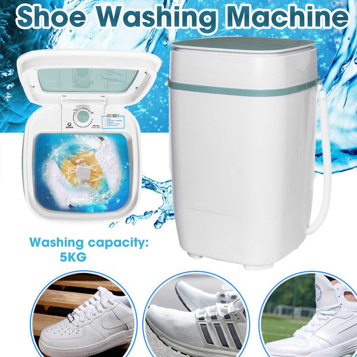 Portable Mini Washing Shoe Semi-automatic Single Barrel Washing Machine Brush Shoes Machine Dorm Machine