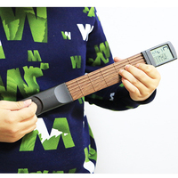 Pocket Guitar Portable Guitar Chord Trainer Guitar Practice Tool LCD Musical String Instrument Chord Trainer Tools for Beginner
