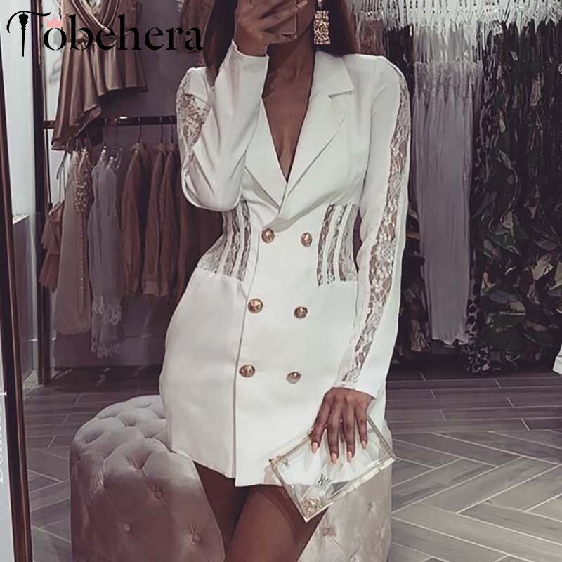 Glamaker <font><b>Lace</b></font> hollow out patchwork blazer <font><b>dress</b></font> Women white double-breasted short <font><b>dress</b></font> <font><b>Female</b></font> streetwear winter <font><b>party</b></font> <font><b>dress</b></font> new image