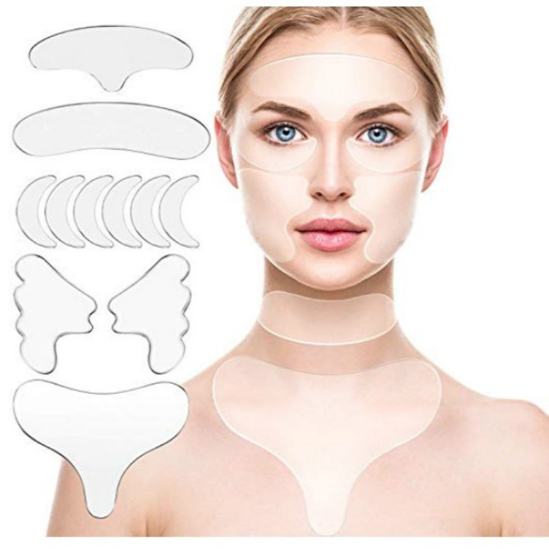 11 Pcs Reusable Silicone Chest Pads,Silicone Neck Pad Forehead Pad Set Cleavage Pad Eye Mask Cheek Stick Facial Care Tools