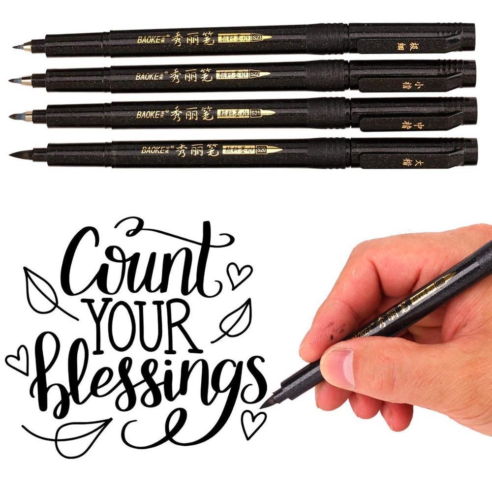 4pcs Calligraphy Pen Set Fine Medium Brush Tip For Hand Lettering Drawing Writing Signature Illustration School Art Tools A6806