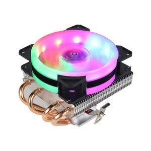 RGB светодиодный кулер для процессора, 4 тепловых вентилятора для процессора, 3/4Pin, охлаждающий вентилятор для ПК, радиатор для LGA/775/1158/1366/AM4/AM3/...