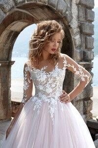 Image 3 - Pink Wedding Dresses Scoop Long Sleeves Lace Appliques A Line Open Back Sweep Train Wedding Bridal Gown Vestidos De Noiva