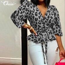 Размера плюс, женские Celmia, рукав-фонарик, блузки, для девушек, Леопардовый принт, туника, топы, повседневные, с поясом, рубашки, элегантные, для работы, вечерние, блузы