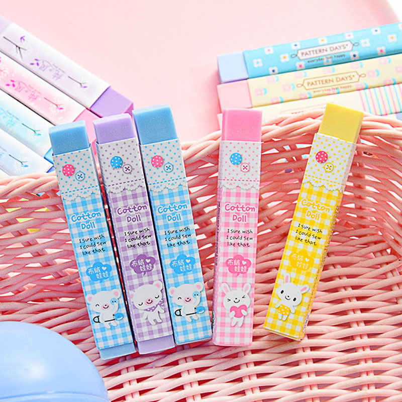 Lovely Colored Eraser Cute Kawaii Cotton Doll Rubber Eraser For Kids Girls Student Gift School Supply Stationery