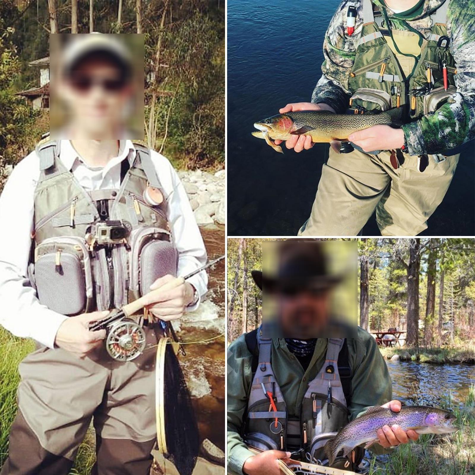 multifuncionais ajustavel tamanho de malha mochila pesca com mosca jaqueta pesca 05