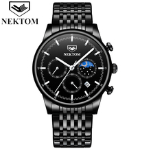 Watches Men Top Brand NEKTOM Fashion Sport Stainless Steel Strap Male Watch Quartz Clock Business Wristwatch Relogio Masculino