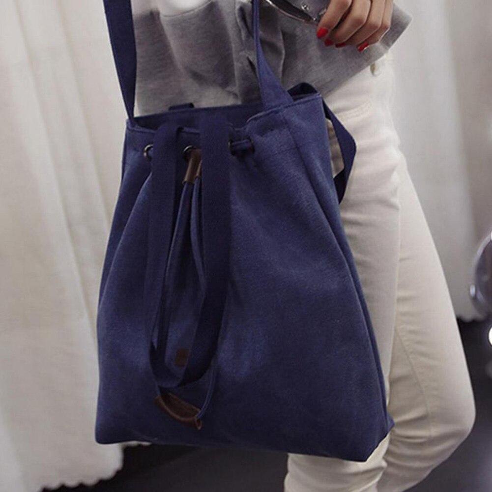 Fashion Women Canvas Shoulder Bags Drawstring Handbag Bucket Tote Messenger Bags Purse Satchel Travel Large Shopping Bags