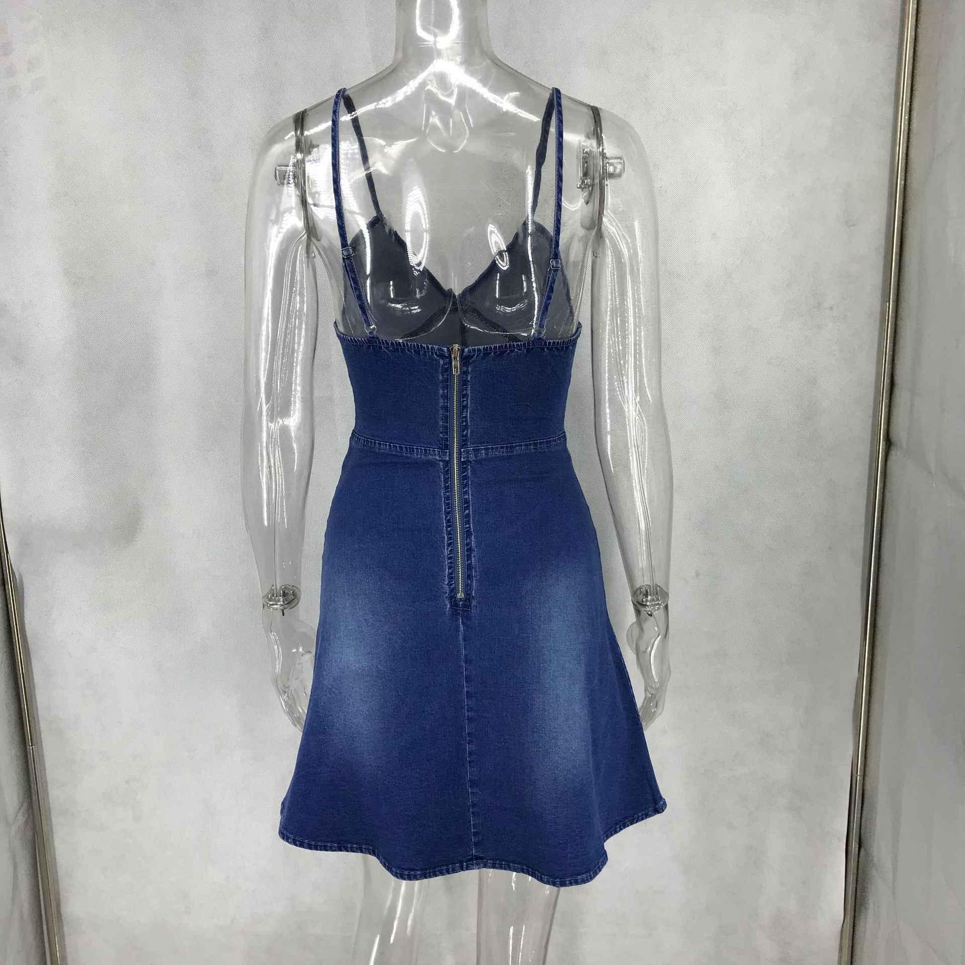 Модные женские вечерние джинсовые платья, летнее тонкое мини-платье на бретелях с v-образным вырезом, сексуальное мини-платье на молнии с открытой спиной, синее женское платье Vestidos