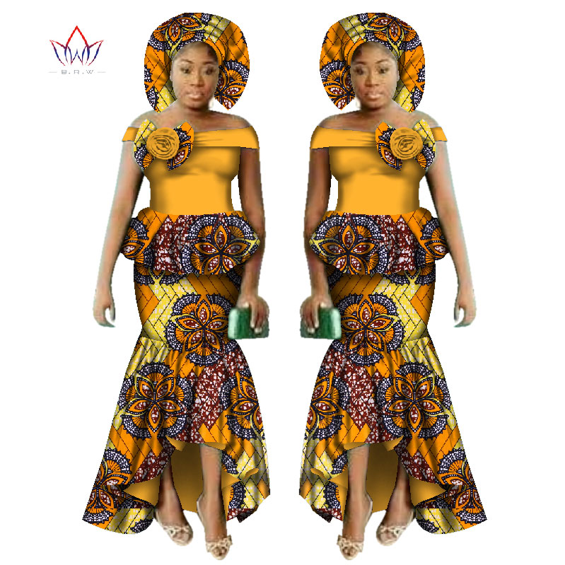 New African Dashiki Print Clothing Sets Two Pieces Short Sleeve Tops Skirts Set  Plus Mermaid Maxi Dress Party Clothes