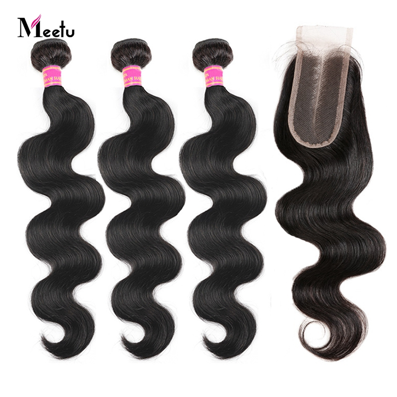 Indian Hair Weave With Closure Body Wave With Middle Part Closure 18 20 22 Human Hair Bundles With Closure Meetu Non Remy