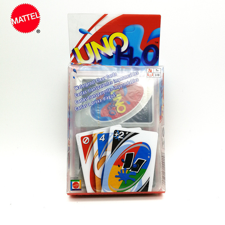 Mattel Games UNO Card Game Creative Transparent Plastic Playing Card Crystal Waterproof Playing Card Can Be Washed UNO Card Game