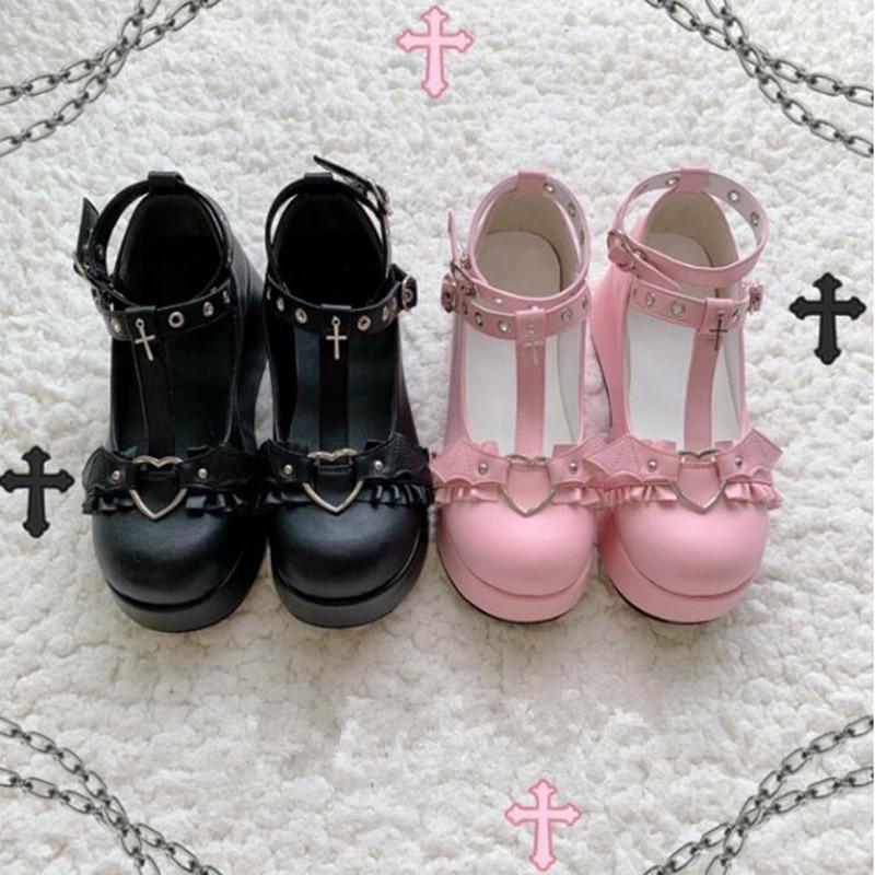 Обувь в стиле Лолиты; Kawaii Loli Devilian Little Bat Style; Обувь для косплея на платформе с бантом; Demon Dark Goth Punk; Обувь на высоком каблуке 5,5 см