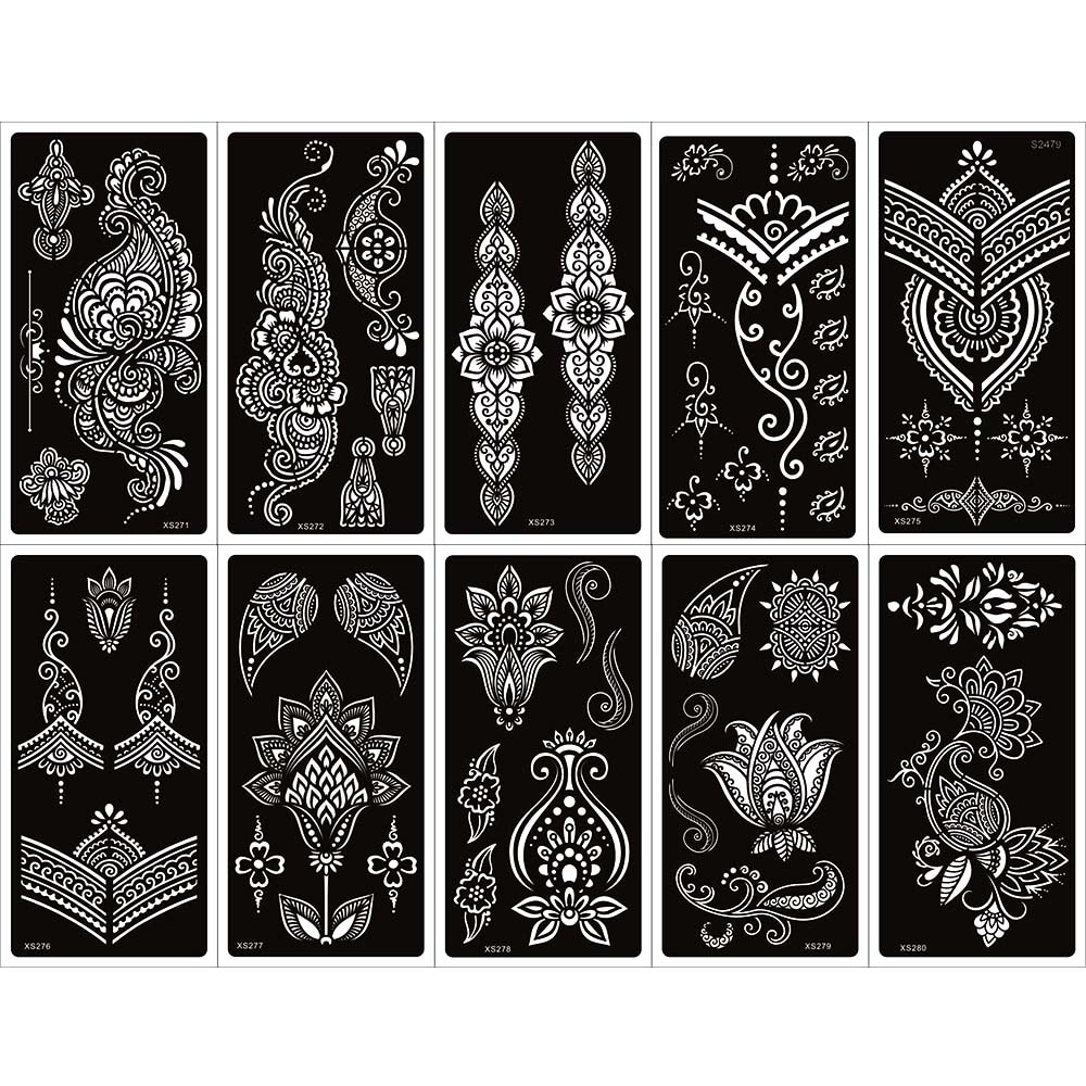 10 Sheets New Indina Arabian Henna Tattoo Stencil For Body Paint, Mehndi Self-Adhesive Tattoo Templates For Hand 9.5 X 18.5cm