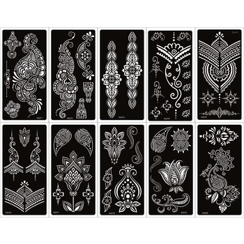 10 Sheets New Indina Arabian Henna Tattoo Stencil For Body Paint, Mehndi Self-Adhesive Tattoo Templates For Hand 9.5 X 18.5cm