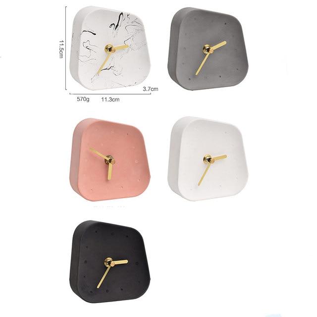 Nordic Home Decoration Accessories Geometry Shaped Cement Table Clock Desktop Decoration Mute Concrete Small Desk Clock 2