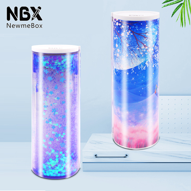 NBX astuccio per matite multifunzionale viola Newmebox School Pencil Box per ragazza romantico fiore di ciliegio caduta fiore notte sabbie mobili
