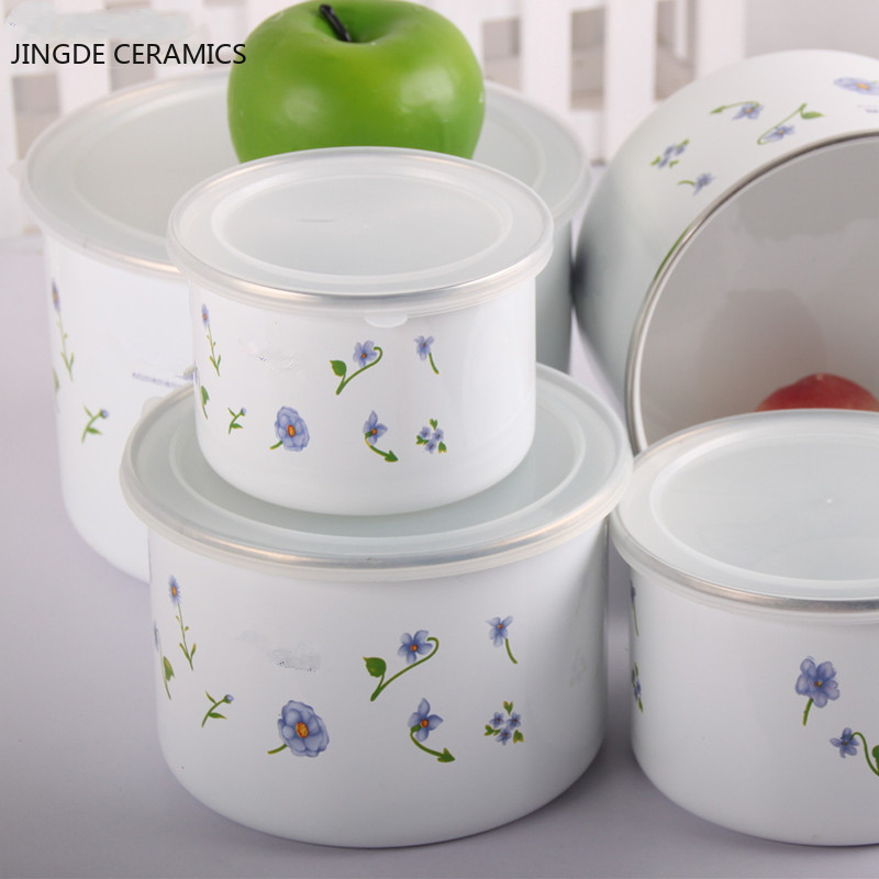 1PCS enamel large-capacity refrigerated sealed fresh food salad bowl fruit pastry plate snack candy storage box kitchen supplies