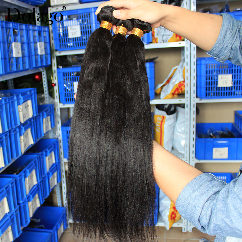 Image 3 - Yaki Human Hair Brazilian Hair Weave Bundles 3 Light Yaki Straight Hair Extensions 1 Piece Dolago Remy Human Hair Products-in Hair Weaves from Hair Extensions & Wigs