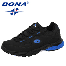 BONA yeni popüler aksiyon deri koşu ayakkabıları MenTrainers spor ayakkabılar adam Zapatillas Hombre açık ayakkabı erkek ayakkabı