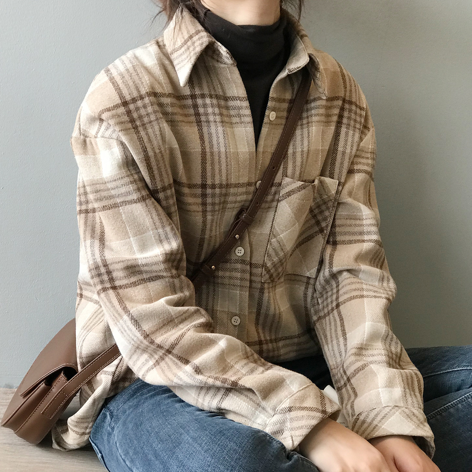 HXJJP 2020 Spring New Women Plaid Shirt Thickened And Sanded Female Korean Version  Loose Warm Blouse