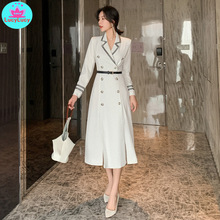 2019 autumn new fashion V-neck temperament slim double-breasted long-sleeved dress Solid цена 2017