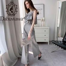 Dabuwawa Ruffle Front Striped Top Shirts And Wide Leg