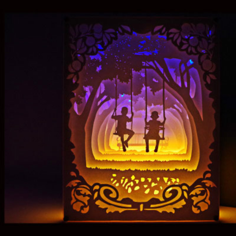 3D Paper-cut Paper Lamp Paper Carving Art Decoration Lamp USB Power Living Room Bedroom Decoration Night Light