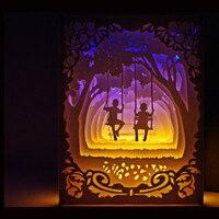 3d papel-corte lâmpada de papel escultura de papel arte decoração da lâmpada usb energia sala de estar quarto decoração luz da noite