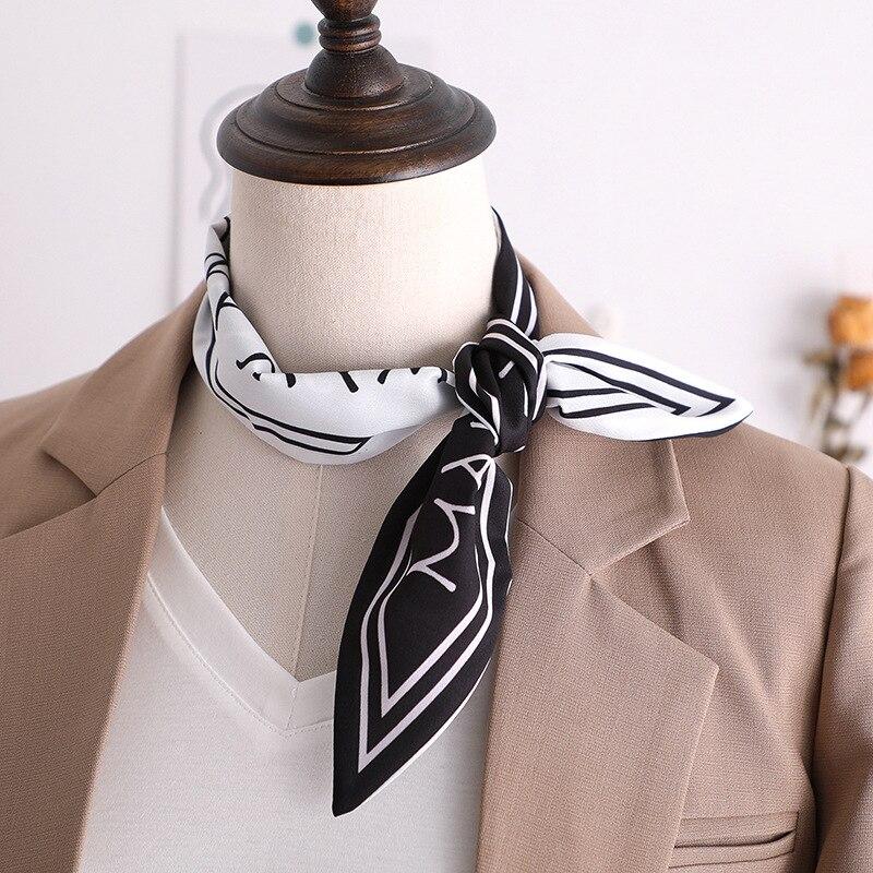 2020 new  stripe Print Women Silk Scarf Small Handle Bag Ribbons Female Head Scarves Hair band black Foulard 90*10cm