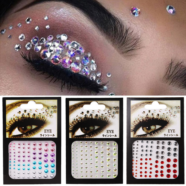 6 Colors Tattoo Sticker Glitter Diamond Makeup Eyeliner Eyeshadow Face Rhinestone Sticker Jewelry Eyes Makeup Crystal Stickers 1