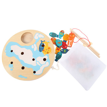 Children Baby Wooden Magnetic Fishing Game Educational Toys Set Kids Baby Gifts Outdoor Toys shark bite game funny toys desktop fishing toys kids family interactive toys board game
