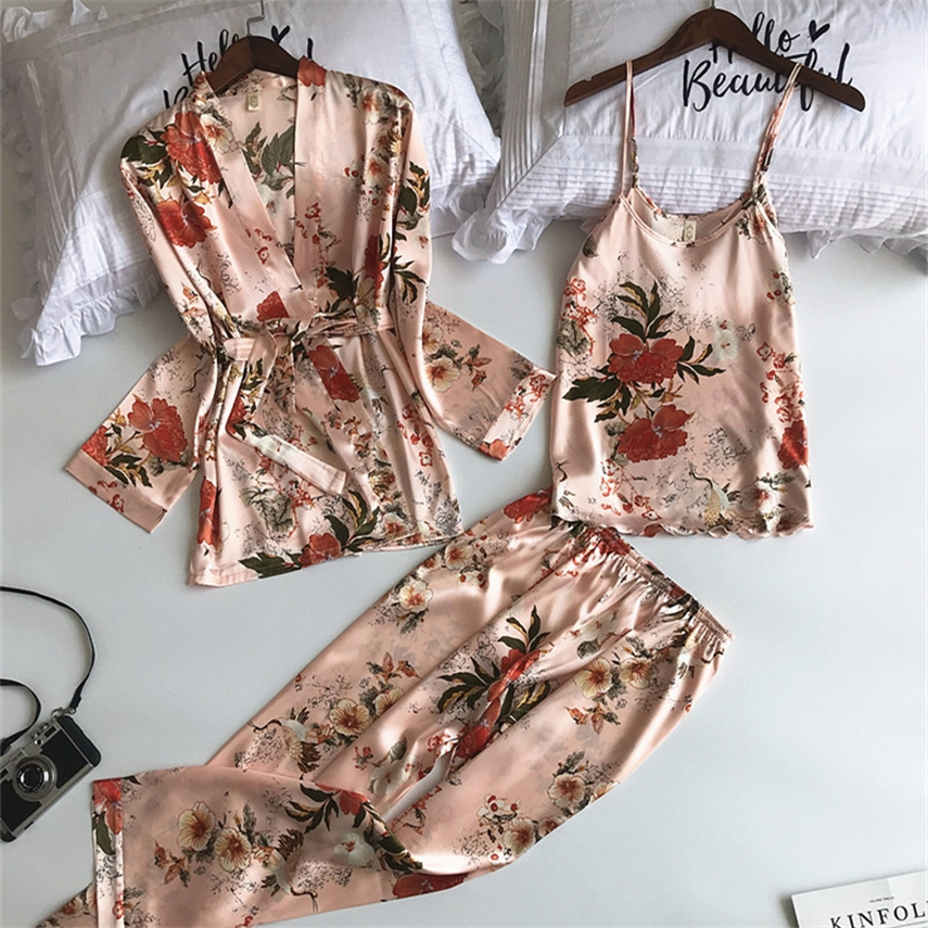 9Color Women Pajamas Sets with Pants 3Pcs Satin Silk Print Floral Pink Night Home Wear Pyjama Sleep Women