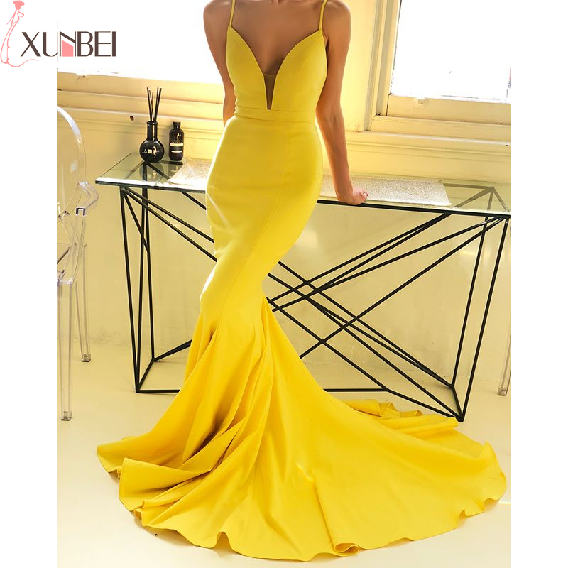 Sexy Mermaid   Bridesmaid     Dresses   2019 Spaghetti Straps V-Neck Backless Satin Wedding Guest Formal   Dresses   vestidos fiesta boda