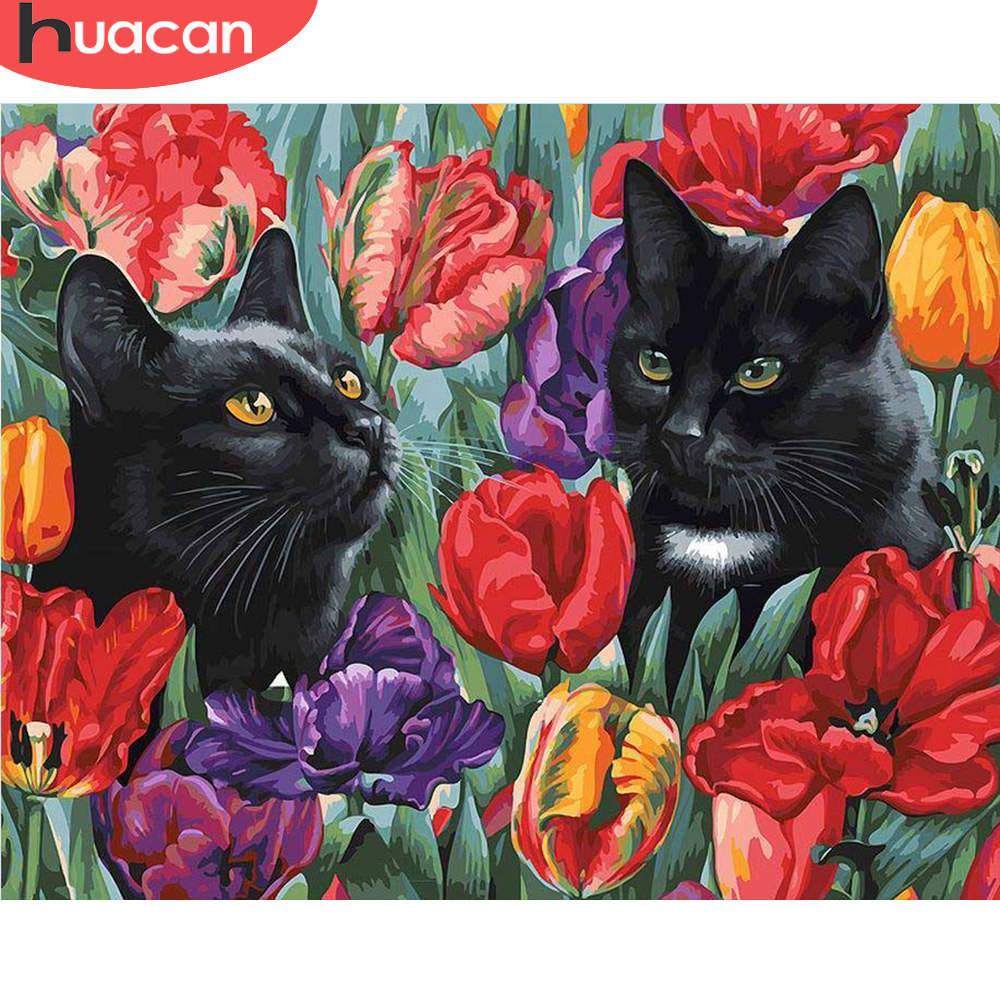 HUACAN Paint By Number Cat Animal Drawing On Canvas HandPainted Painting Art Gift DIY Pictures By Number Flower Kits Home Decor