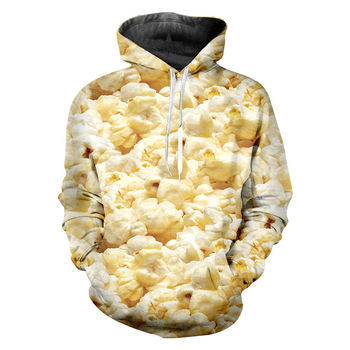 Funny Food print Hoodies 3d Print Golden popcorn Hoodie Male Pullovers Cool Hip Hop Sweatshirts Unisex Fashion Casual Tracksuit