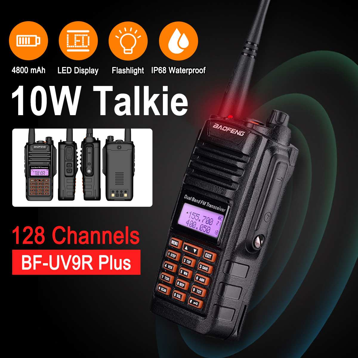Baofeng UV-9R Plus 10W VHF UHF Walkie Talkie Dual Band Handheld Waterproof 10km Two Way Radio Transceiver PMR 9R Transmitter