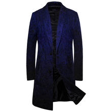 Fashion Mens Designer Trench Coats Cardigan Lapel Neck Long Style Outerwear Slim Casual Males