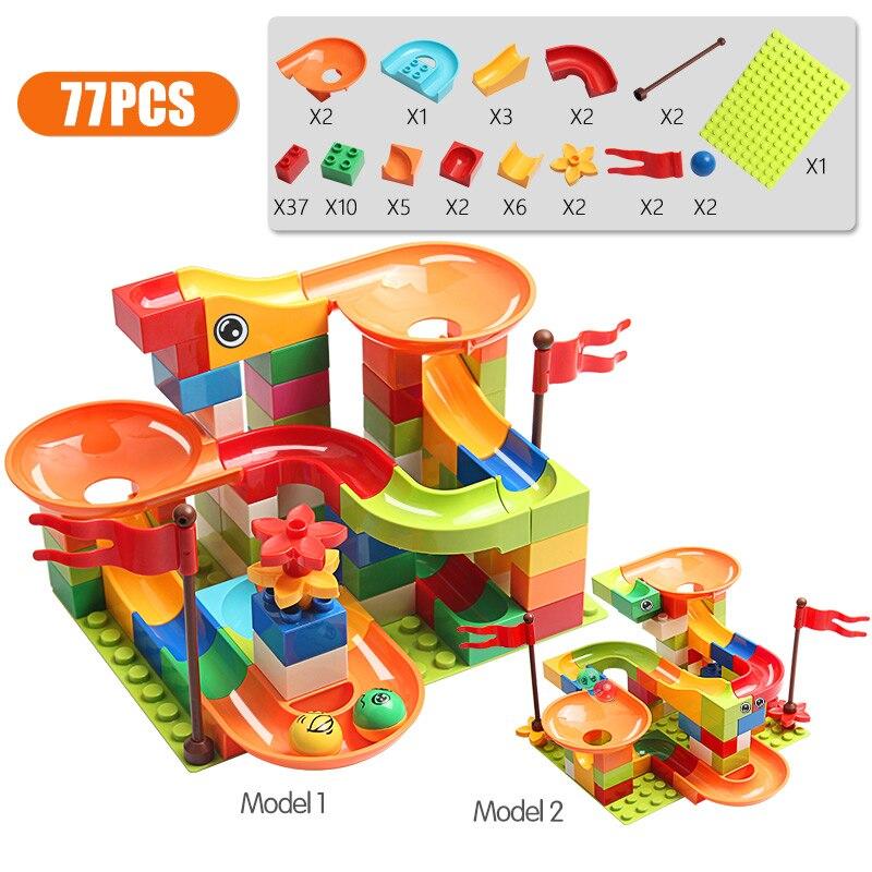 Construcción de una pista de carreras de canicas para niños, 77-308 uds, Big Block, Compatible, duplo, bloques de construcción, embudo, Tobogán, piezas, juguetes, regalo