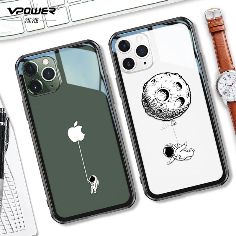 Cep telefonları ve Telekomünikasyon Ürünleri'ten Takılır Kılıflar'de Temperli cam iphone için kılıf 11 pro max 6.5 6.1 koruma şeffaf temizle telefon iphone kılıfları 11 pro cam kabuk kapak title=