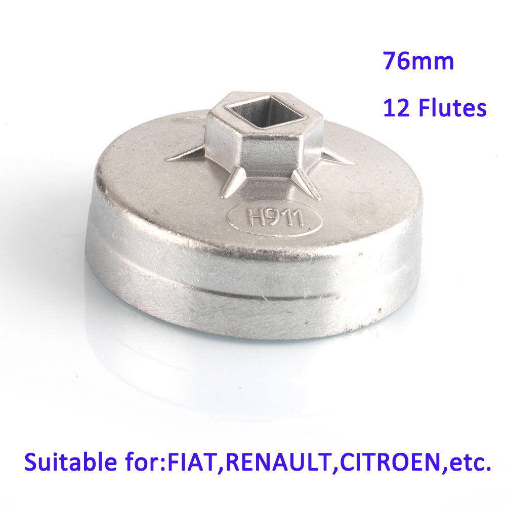 1/2 Inch Square Drive 76mm 12 Flutes Oil Filter Wrench Cap Oil Filter Removing Tool Aluminum Alloy Material For FIAT RENAULT