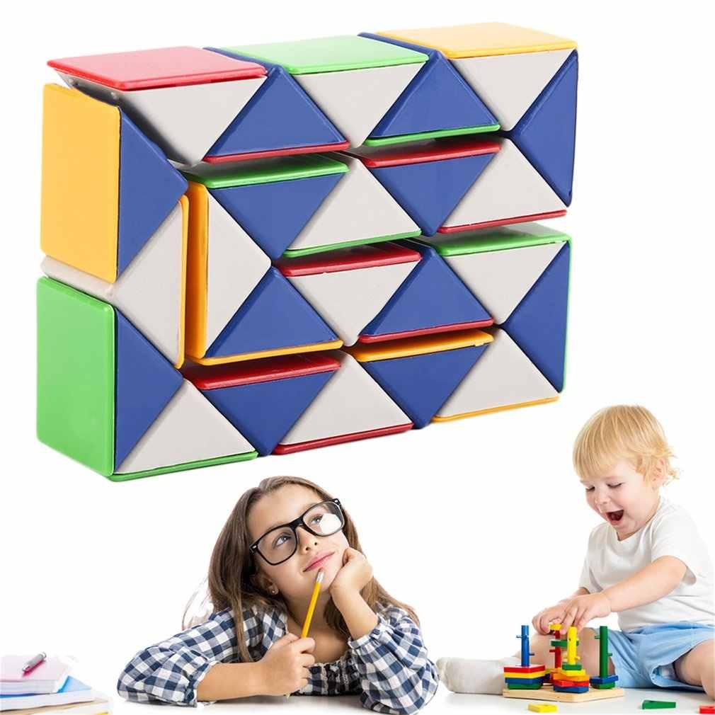 3D Küp 24 Blokları Yılan Sihirli Oyun yapboz oyuncak Büküm Oyuncak Hız Sihirli Küp Komik Aile Çocuk eğitici oyun Oyuncaklar Hediye