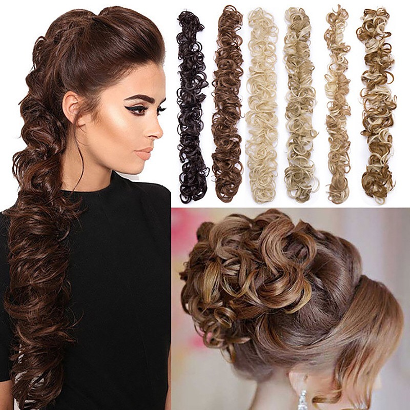 CLOTHOBEAUTY 1 Pcs Messy Hair Bun Extensions Wavy Curly Hair Donut Chignon Fake Ponytail, Synthetic Hair Rope Elastic Band Updo